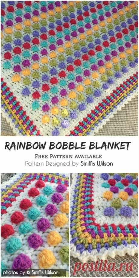 Rainbow Bobble Blanket Crochet Pattern #crochet #babyblanket #crochetbobbleblanket #freecrochetpattern