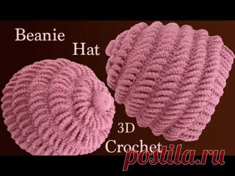 Gorro a Crochet en punto abanicos de lado en 3D tejido tallermanualperu