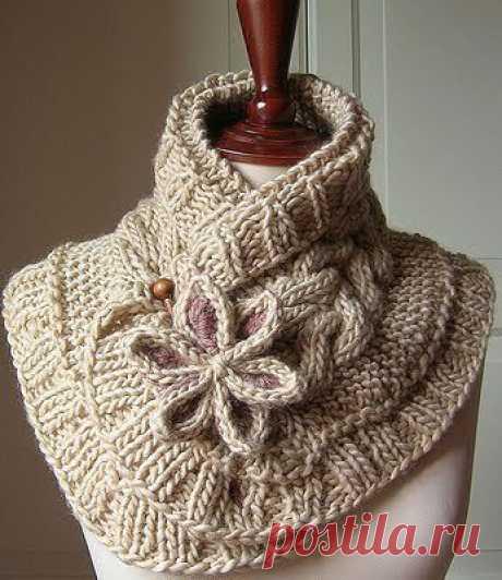 Очень красивый вязаный шарф-воротник! » Женский Мир
