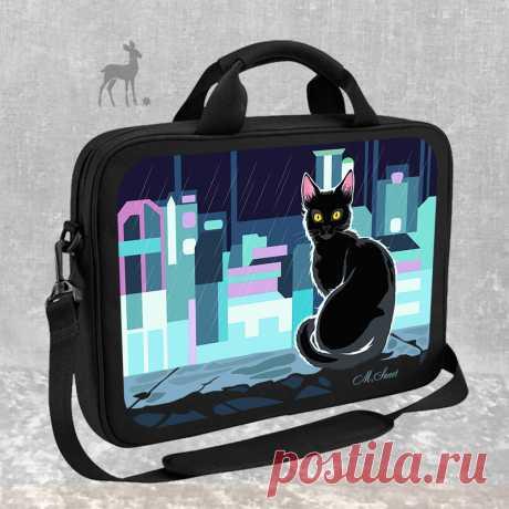 28c6fa416cb3 Огни большого города и кошка #сумкадляноутбука #сумкасросписью #сумк     Сумки для Ноутбуков   Постила