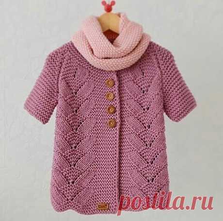 Оригинальный жакет для девочки, вязание снизу