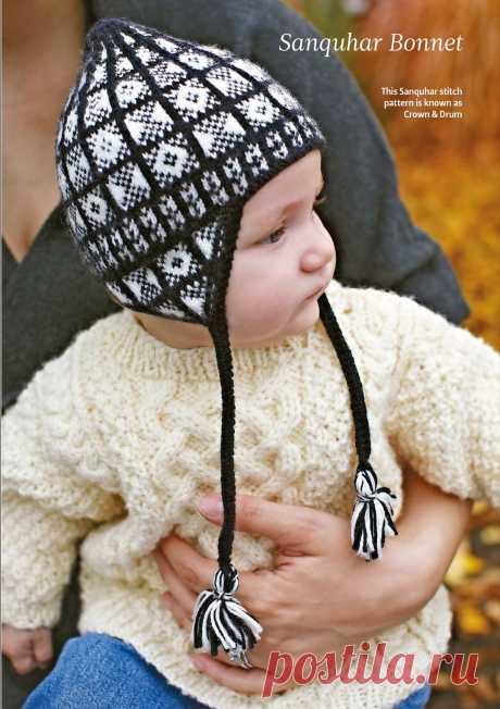 Шапочка для новорожденного Sanquhar жаккардовым узором Шапочка для новорожденного Sanquhar жаккардовым черно белым узором с ушками. Вяжем шапочку для новорожденного приготовьте по 1 мотку пряжи  черного цвета и белого цвета .