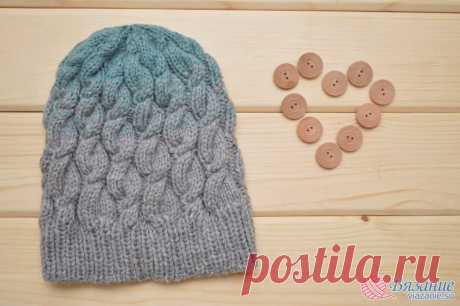 """Hat with a gradient and plaits\"""" Knitting - the website about knitting by spokes and a hook"""