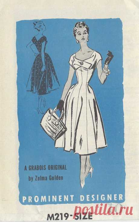 1950s Vintage Sewing Pattern B28 DRESS (R854) By Zelma Golden #ProminentDesignerbyZelmaGolden #vintage1950sdresses