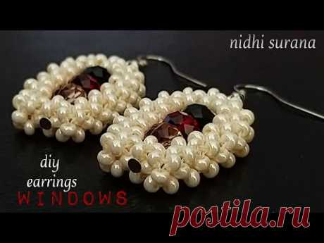 ⚜️ Windows, beaded earrings || Seed bead Aretes Tutorial DIY|| Crystal Earrings (0261)