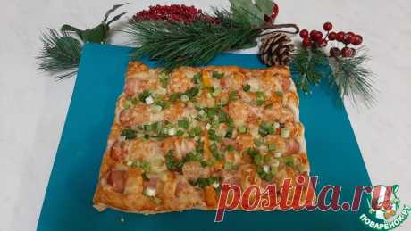 Слоеный пирог с сосисками Кулинарный рецепт
