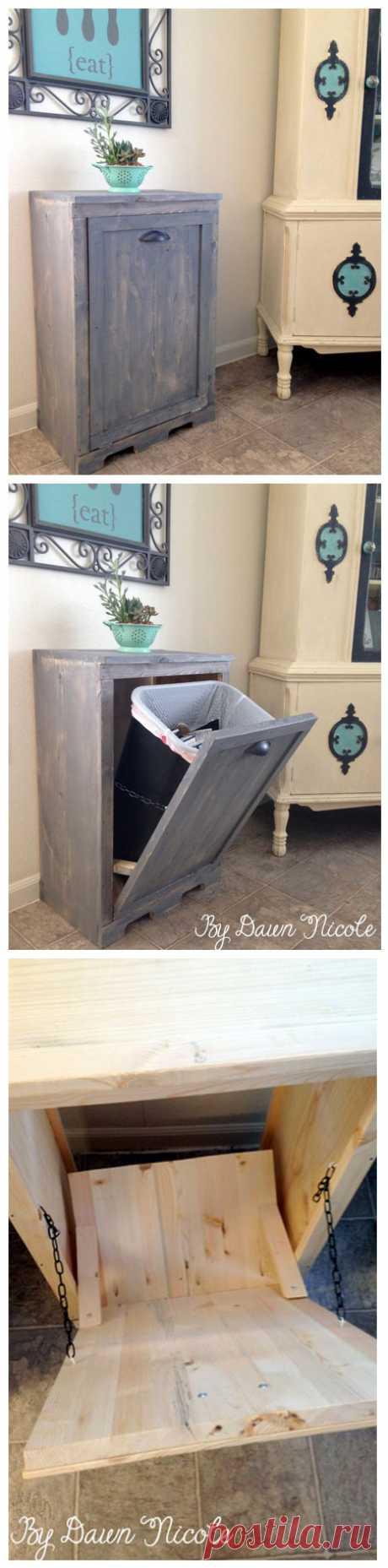 Наверное многие хотели бы дома, да прям на кухне, иметь большой мусорный бак, чтобы не таскать к входной двери кучу пакетов, а потом выбрасывать их охапкой. Но смущает, пожалуй, одно - как вот, на кухне вот так взять и поставить мусорный бак? Вы знаете, способ есть и очень даже приличный.
