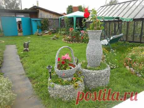 Садовые кашпо из щебёнки