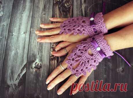 Свадебные перчатки сиреневые крючком с атласной лентой крючком | Etsy