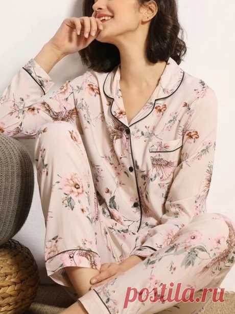 Women Floral Print Camp Collar Pocket Long Sleeve Shirt Loose Pants Home Pajamas - US$24.99