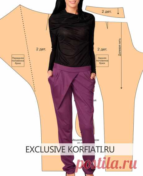 Pattern of trousers with a smell from Anastasia Korfiati Eti you will be able independently to simulate and sew stylish trousers, follow detailed instructions and your pattern will be exact. A pattern of trousers with a smell