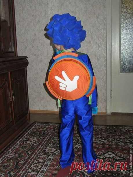 Купить Круглый рюкзачок - рыжий, рюкзачок, детский рюкзачок, зеленый, голубой, Джинсовая ткань, деним