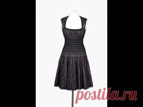"Черное платье крючком ""Стройная Талия"", вяжем юбку  Black dress crochet ""Slim Waist"" knit skirt"