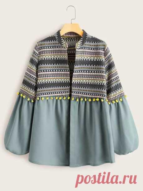 Пальто с оригинальным рукавом и племенным принтом | SHEIN