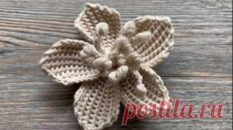 Цветок вишни крючком. Видео МК | Вязаные крючком аксессуары Мастер-класс для начинающих по вязанию крючком изящного цветка тунисским приемом обычным крючком! Подробно, идеально для начинающих.