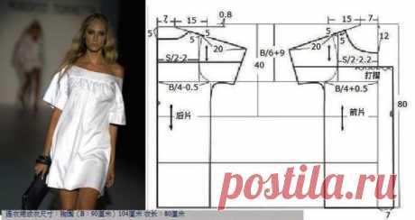 Платье-туника, выкройка строится по двум меркам: B - обхват груди и S - ширина груди. #простыевыкройки #простыевещи #шитье #платье #туника #выкройка