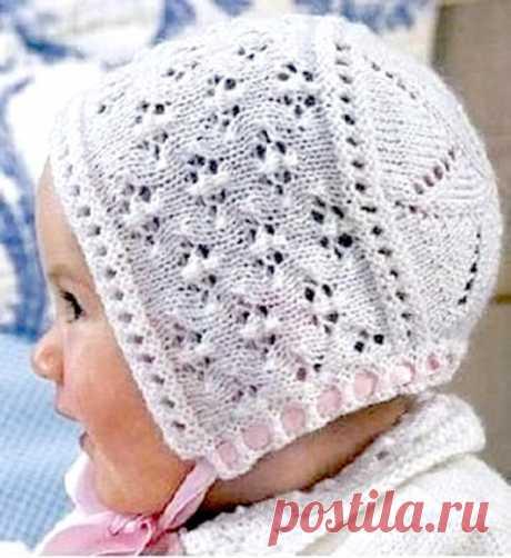 Вяжем летнюю шапочку с оригинальным ажурным донышком для грудничка (Вязание спицами) – Журнал Вдохновение Рукодельницы