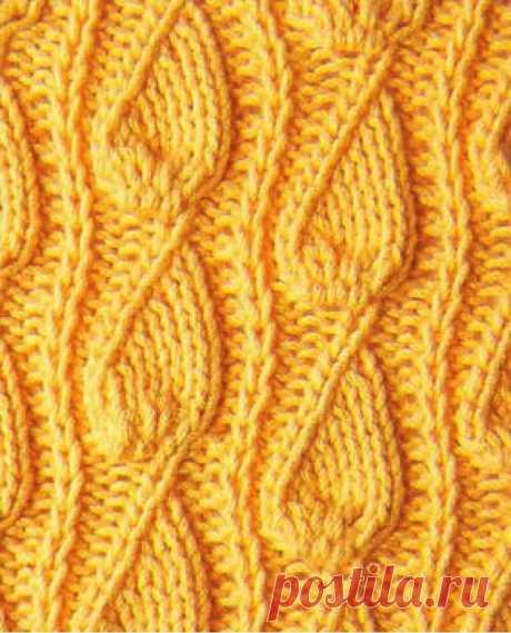 """Узор спицами """"Рельефные дорожки"""" 17 — Shpulya.com - схемы с описанием для вязания спицами и крючком"""