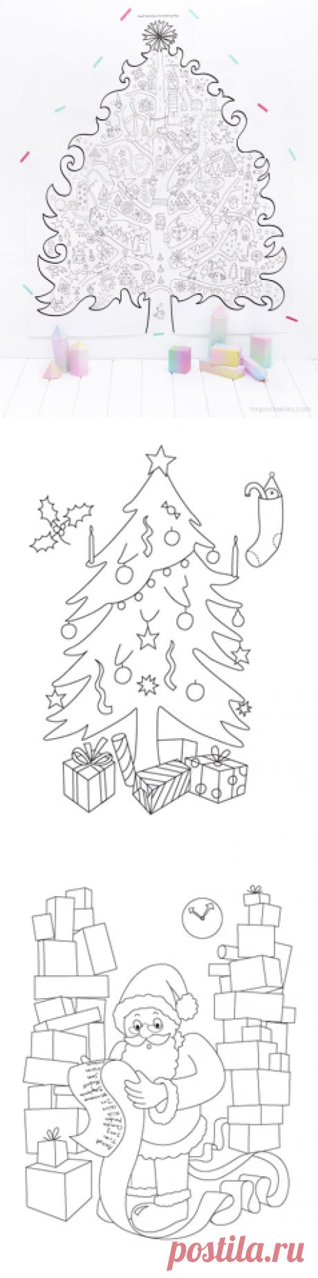 Для печати Рождественские раскраски - г-н Printables