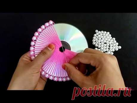 Hand Embroidery Amazing Trick with Old CD | Easy Woolen Flower making idea