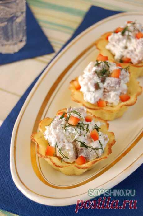 Оригинальная закуска в тарталетках. Картофельные корзинки.