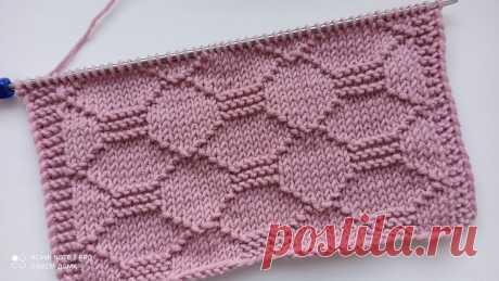 Рельефный, простой узор спицами для вязания кардигана, джемпера, свитера, шапки. | Вяжем дома с Татьяной | Яндекс Дзен