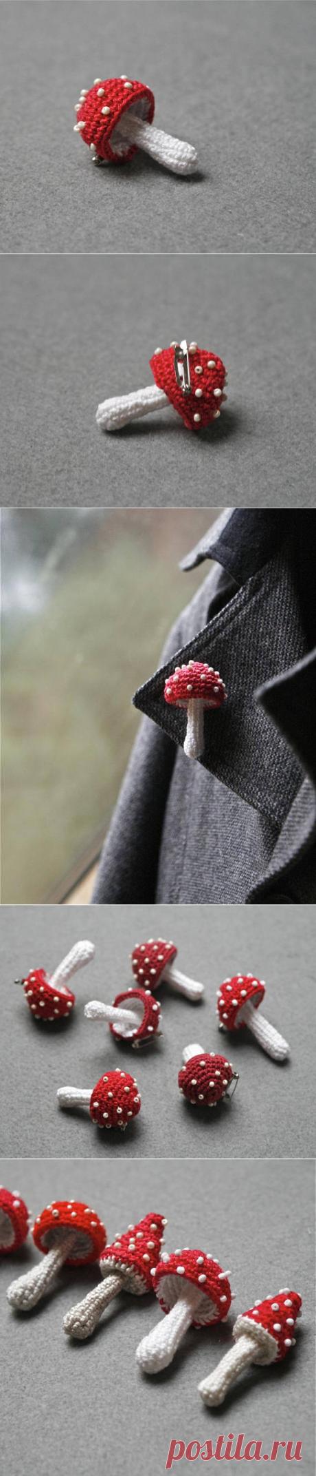 Toadstool pin crochet mushroom brooch woodland jewelry