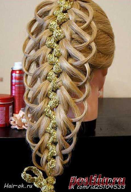 Модные косы с лентами: просто очарование