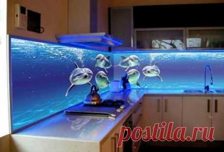 Скинали для кухни с 3D эффектом: объемные фото на панелях