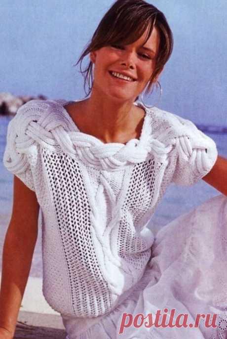 Вяжем красивый белый пуловер из категории Интересные идеи – Вязаные идеи, идеи для вязания