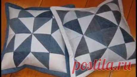 Лоскутное шитье.  Красивые подушки из старых джинсов.