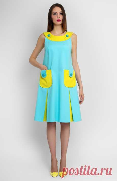 Pupa Платье А-силуэта без рукавов из эластичного хлопка. Воротник-лодочка. Потайная молния на спине. Накладные карманы спереди. Без подкладки. На фото: модель ростом 176 см, размер S.