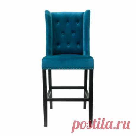 Барные стулья Skipton blue velvet. Стильные дизайнерские стулья купить в Москве - оригинальные стулья, цена в каталоге интернет-магазина ForestGum