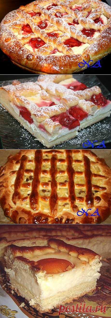 Пирог из дрожжевого теста с творогом и фруктами : Выпечка сладкая