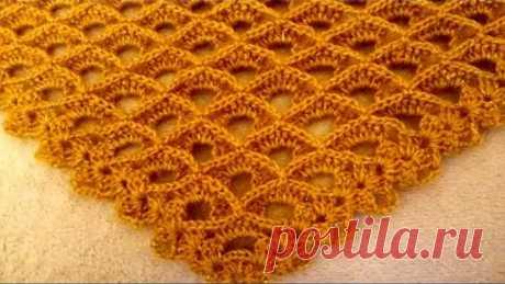 "МК.Легкая ажурная шаль узором ""соты""крючком.MK.Light openwork shawl pattern ""honeycomb"" crochet."