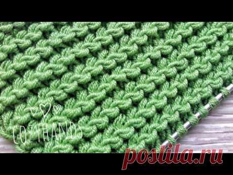 Мелкий горизонтальный узор спицами  с раппортом в 1 петлю / Вязание легкого узора
