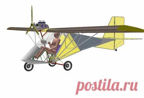 Проект самолетика весом до 115 кг. На колесном шасси.