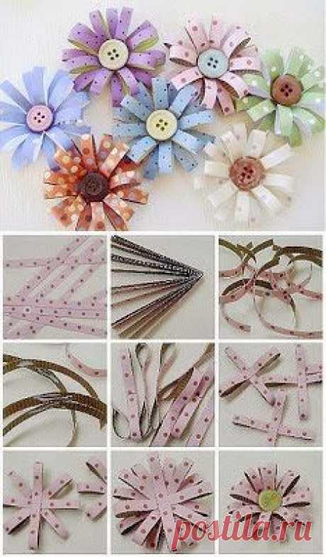 (1) DIY Paper Button Flower | HANDMADE BIJOUX