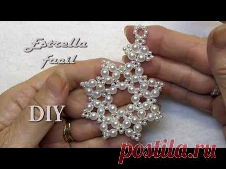 DIY -Colgante - Estrella fácil de 8 puntas todo perlas
