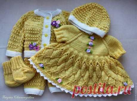 Купить Комплект для Беби Анабель - желтый, платье для куклы, вязаная одежда для кукол