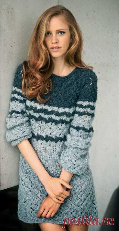Зимнее платье спицами с ажурными узорами - Портал рукоделия и моды