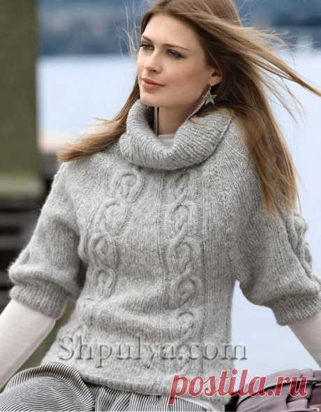 Серый пуловер с рукавами реглан и декоративными косами - SHPULYA.com