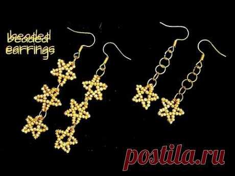 beading tutorials-how to make STAR earrings. beaded earrings