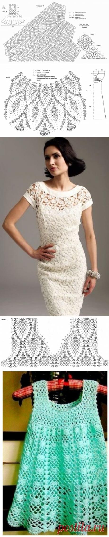 Ажурное платье крючком для девочки и женщины: схемы и описание вязания