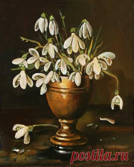 snowdrops Oil on canvas 20×25cm Buy the original painting… price 290$
