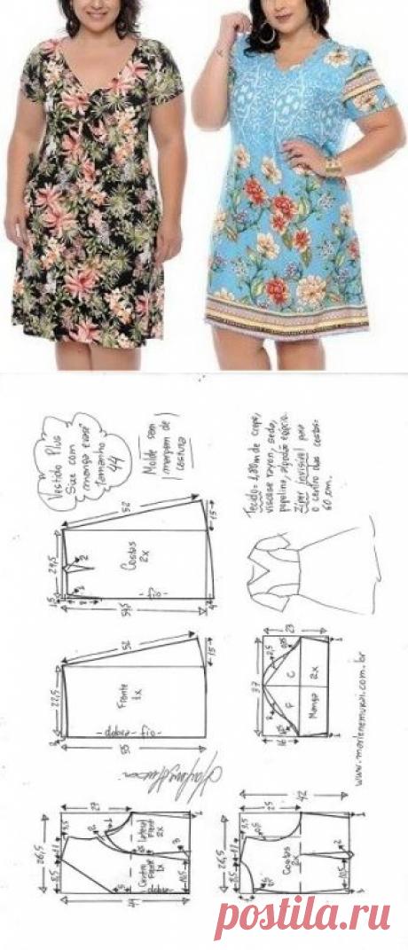 Vestido plus size meio evasê com manga   DIY - molde, corte e costura - Marlene Mukai