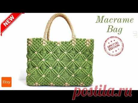 Зеленая сумочка, макраме