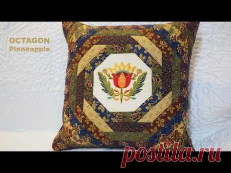 Octagon - pattern Pineapple. Patchwork tutorial LizaDecor.com