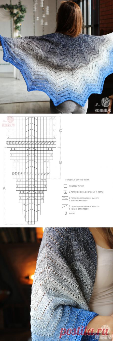 Шаль спицами— популярный вариант вязки сосхемами иописанием