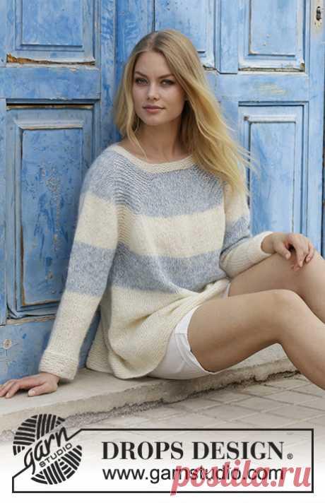 "Бело-голубой пуловер с рукавами реглан ""Sailor's Luck"" by DROPS Design"